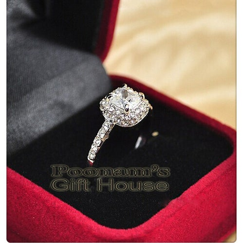18K White Gold Plated Princess Cut Zircon Ring