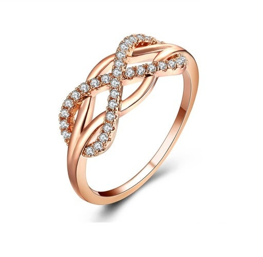 Brilliant Infinity Ring genuine Cz Rose Gold filled