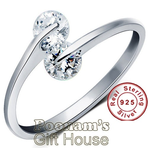 Pure Sterling Silver Dimond Cut Austrian Swarovski Crystal Ring