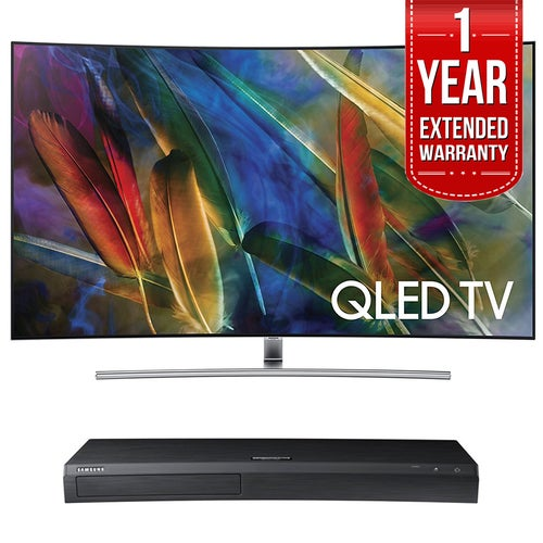 Samsung Curved 65 4K UHD Smart QLED TV + HD Blu-ray Player + Extended Warranty