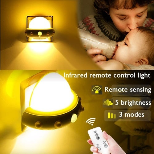 Design UFO Shape LED Space Night Light Wall Lamp with Infrared Remote Control Home Decor