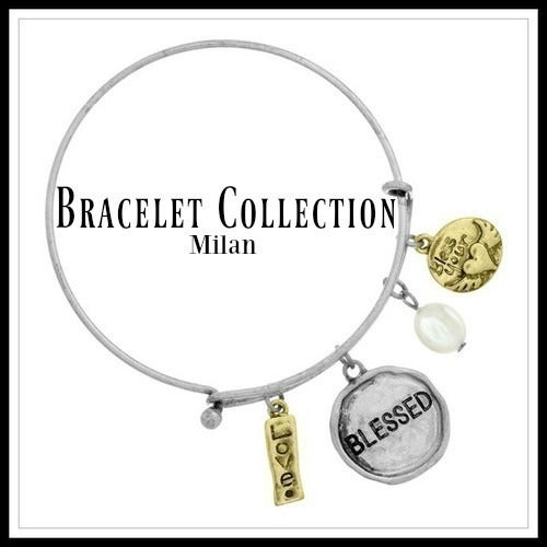 14k Yellow Gold Filled, Blessed Charm Bangle Bracelet Sm855