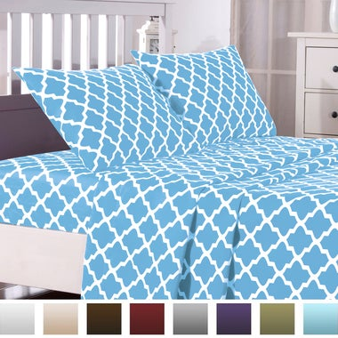 Egyptian Luxury  Bed Sheets Set Quatrefoil Pattern 1800 Bedding - Wrinkle, Fade,