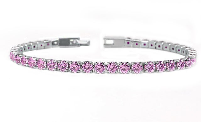 Amazing Luxurius 18Kt White Gold Plated Classic Pink Spinel Tennis Bracelet