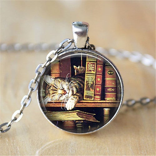8cbd816ee04 Book Necklace - Library Cat Book Worm Necklace Book ...