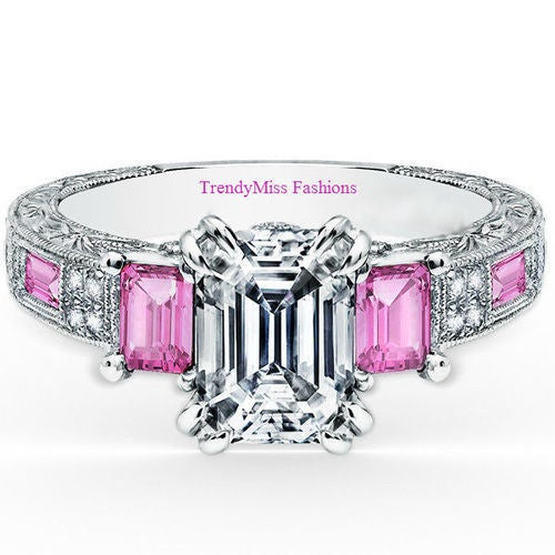 White Gold Plated Emerald Cut Past, Present, Future 5A Designer Pink CZ Wedding/Engagement Ring