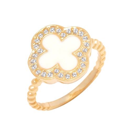 Yellow Gold Filled Natural Shell Clover Ring