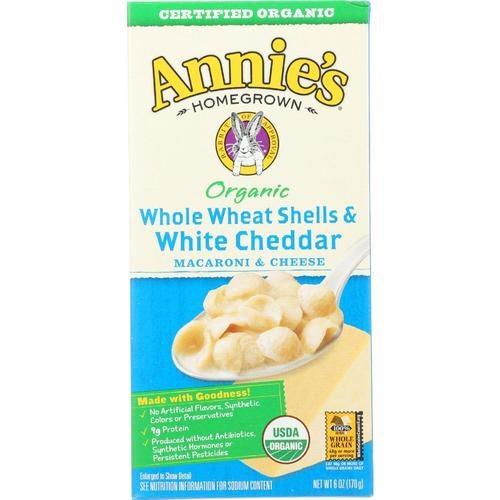 Annie's Homegrown Annies Homegrown Macaroni And Cheese - Organic - Whole Wheat Shells And White Cheddar - 6 Oz - Case Of