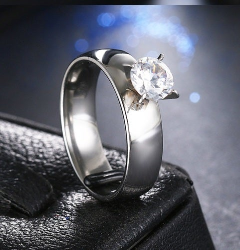 Brilliant Solitaire Steel Band Forever Ring