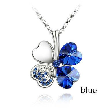 4 Heart Clover Crystal Charm Necklace + Bid $5 and up gets a FREE Gift