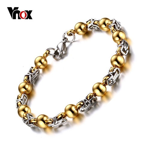Mens Bracelet 316L Stainless Steel Gold-color Bead With Byzantine Chian Bangle pulseiras para homens 9 Inch