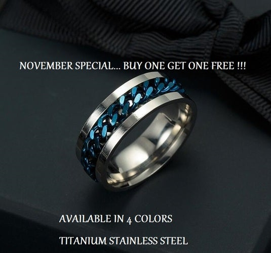 LIMITED TIME OFFER... BUY ONE GET ONE FREE !!! 7mm Titanium Stainless Steel with rotating inner chain. Size 6-12