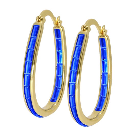Stunning 18Kt Gold Plated Blue Spinal Gemstone Inside Outside Hoop