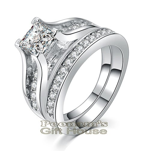 Princess-Cut and Round CZ Wedding Ring