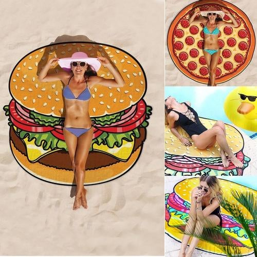 Round Polyester Beach Mat Beach Blanket Pie Pizza  Outdoor  Patterns Pools