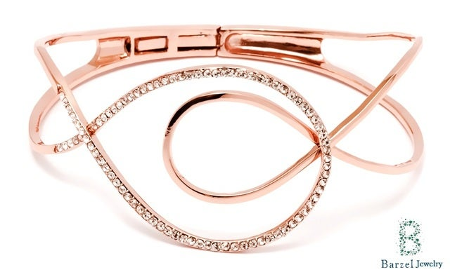 18K Gold Plated Rose Gold and Crystal Swirl Bangle