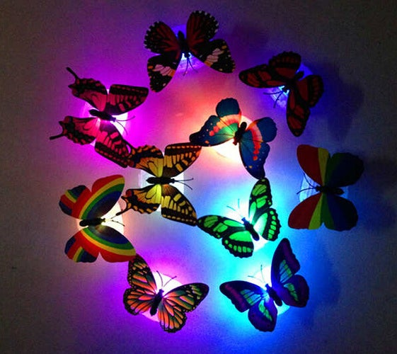 1Pcs Colorful Changing Beautiful Cute Butterfly LED Night Light Lamp