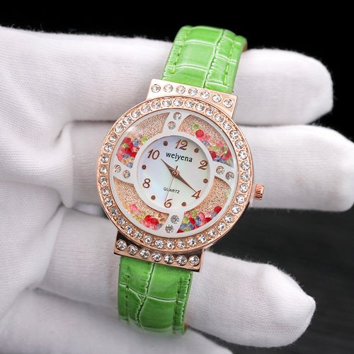Color flow sand drill personality creative diamond belt watch female models