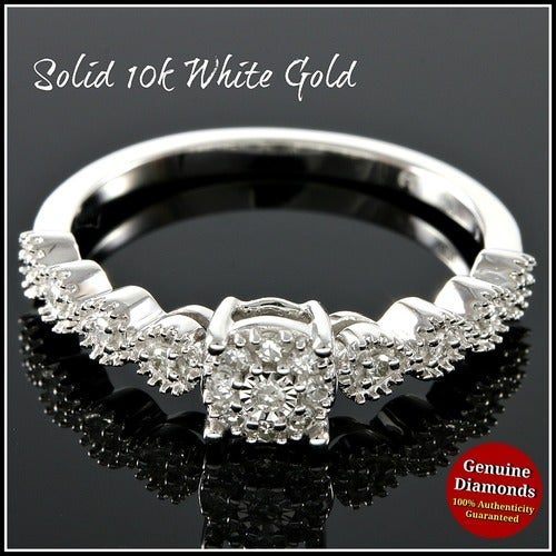 Solid 10k White Gold,Genuine Diamonds Engagement Ring #glamgold4777