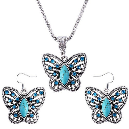 18kt White Gold Plated Synthetic Turquoise Butterfly Set