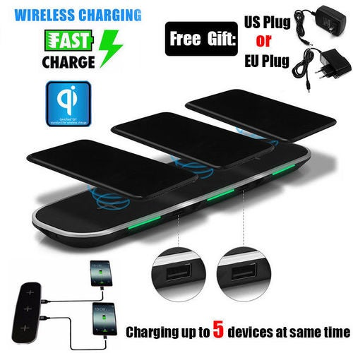 QI Wireless Charger with 3 Wireless Charging Ports Stand Dock With USB Charging Ports for iPhone 8 / 8 Plus, iPhone X, Nexus 5 / 6 / 7, and Other Devices, Provides Fast-Charging for Galaxy S8/ S8+/ S7 / S7 edge , and Note 5