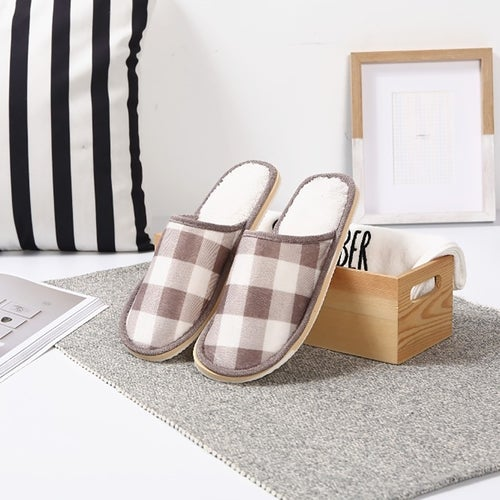 New lattice indoor home fall cotton slippers