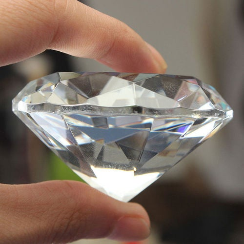 1pc Crystal Clear Paperweight Faceted Cut Glass Giant Diamond Jewelry Decor 40mm