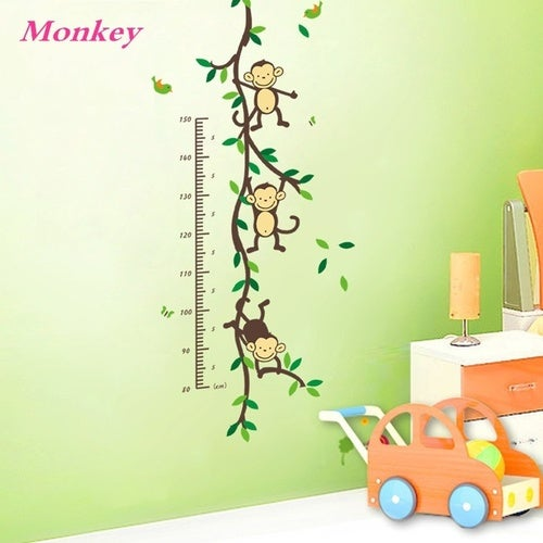 ZooYoo Original Playing Monkey Tree Height Wall Art Stickers Kids Nursery Removable Decor Decals Home Mural