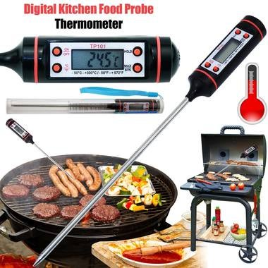 Kitchen Cooking Food Meat Probe Digital BBQ Thermometer, Gas Oven Thermometer To