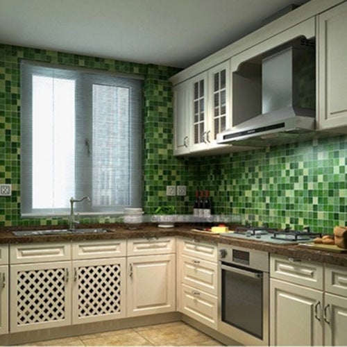 45x200cm DIY Home Decor Kitchen Wallpaper Mosaic Aluminum Foil Self-adhensive Anti Oil Wallpaper For Kitchen Wall Sticker