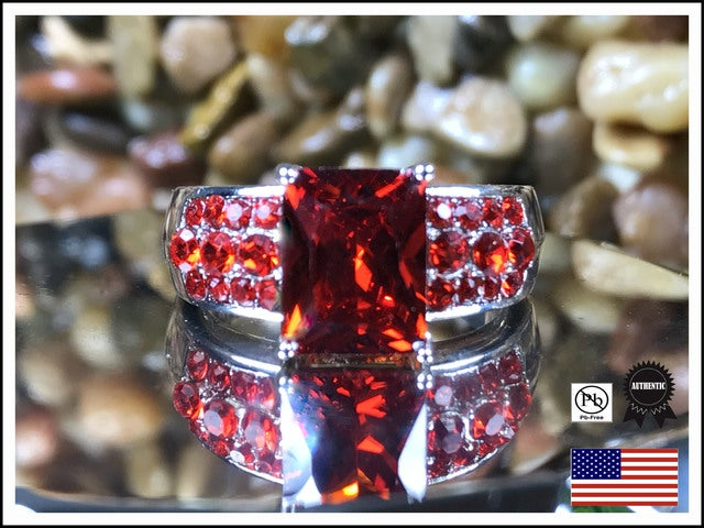 Fiery Red CZ on Silver Band. Sizes 7,8 or 9 only please