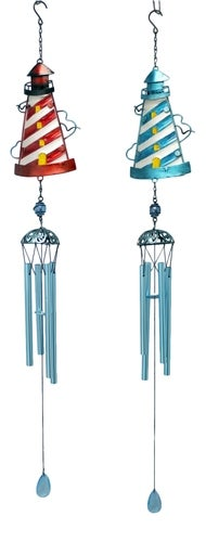 Red and Blue Lighthouses Wind Chimes Set of 2 Metal and Glass