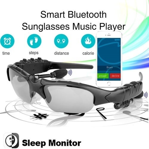 Excelvan BT201 Bluetooth Polarized Sunglasses Wearable Pedometer Smart Monitoring Function Music Player
