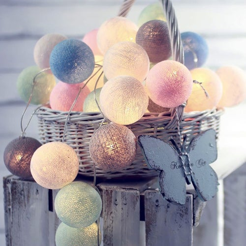20 Balls LED Cotton Ball String Light 9 kinds of match colors Battery operated Home Decoration Light Party Wedding Christmas Valentine's Day Decoration