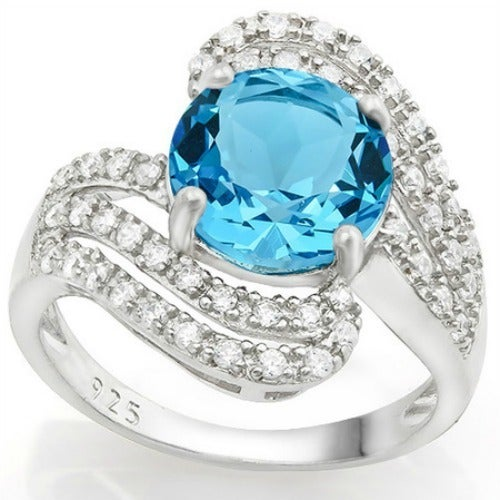 Solid .925 Sterling Silver w/18k White Gold 4.85ct Sky Blue Topaz and White Sapphire Ring Glamssil8879