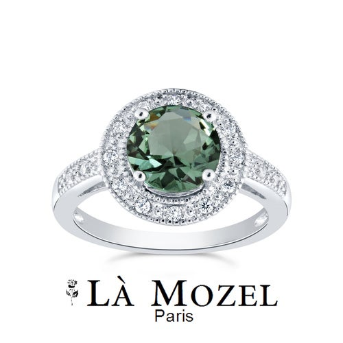 3.00 Carat Highly Graded Green Round Halo Luxury Handcrafted Ring