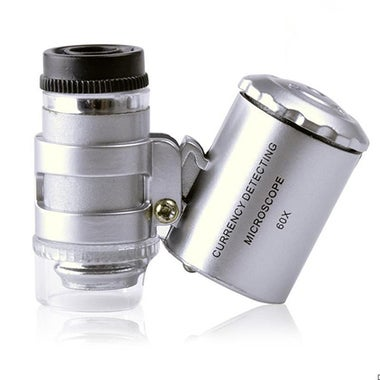 60x Handheld Magnifying Glass Mini Pocket Microscope Loupe UV Currency Detector