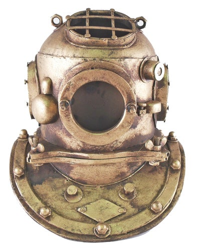 Deep Sea Diving Divers Helmet Nautical Reproduction Tin 7 Inch Table Top Decor