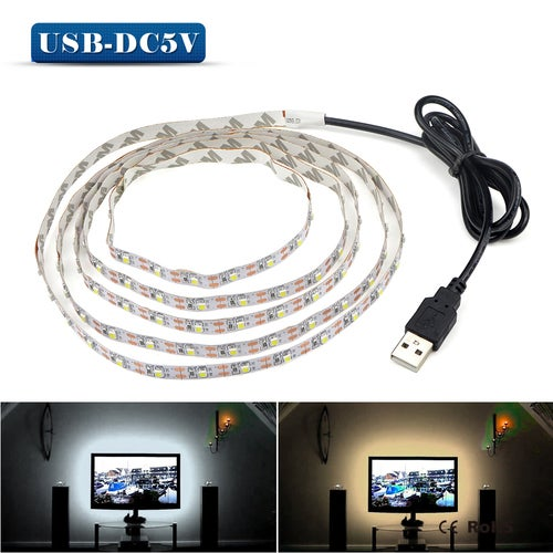 5V 1M USB Port Cable Power LED strip light lamp SMD 3528 Christmas desk Decor lamp tape For TV Background Lighting