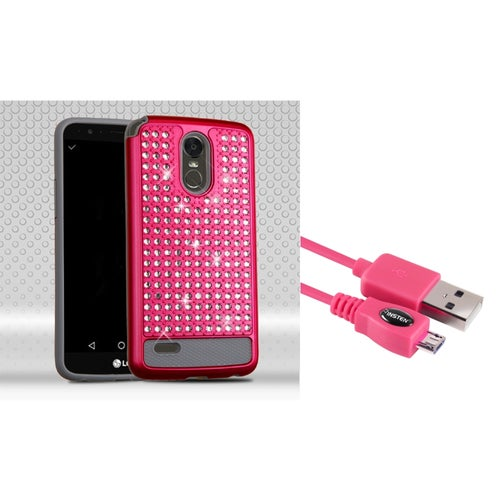 Insten Hard Hybrid Rhinestone Silicone Case For LG Stylo 3 - Hot Pink/Gray (+ USB Cable)