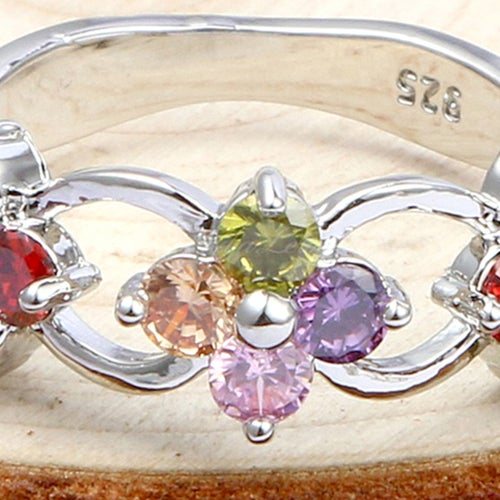 Gorgeous Floral Genuine Gemstone Sterling Silver 925 Ring