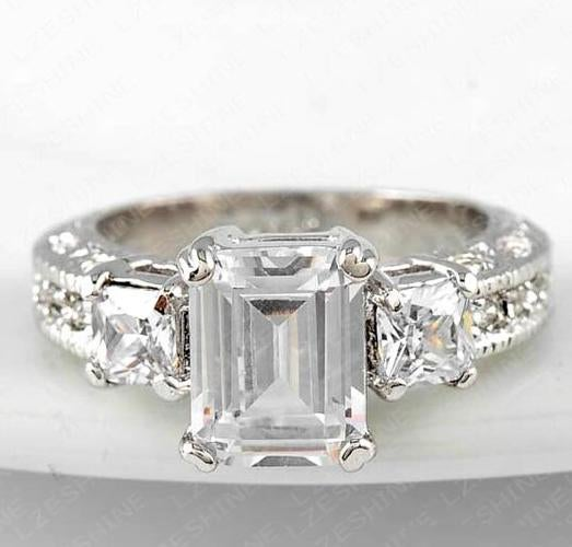 Women's Superior Quality White Gold Colored Wedding Ring
