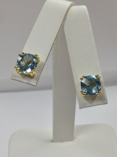 Natural Blue Topaz Stud Earrings 925 Sterling Silver