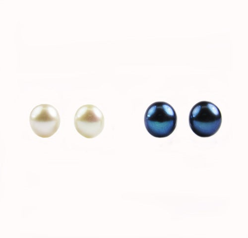 Sterling Silver 7mm White and Blue Genuine Cultured Button Pearl Stud Set. *SHIPPING CHARGE IS PER ITEM. Visit Our Store www.JewelryDealsGalore.com