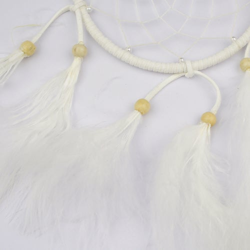 Pure Handmade White Feathers Dream Catcher Lucky Charm Pendant with Circular Net Wooden Beads Car Wall Hanging Wind Chimes Home Decor Ornament Indian Style