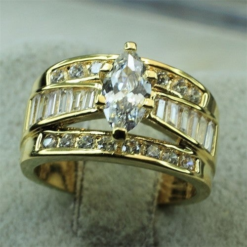 Yellow Gold Plated Classic Style Marquise Cut Center w/ Channel Set Baguettes & Rounds Wedding / Engagement Ring