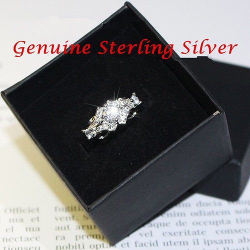 Vintage Dazzling Brand Jewelry Bride Engagement Wedding Ring in Sterling Silver