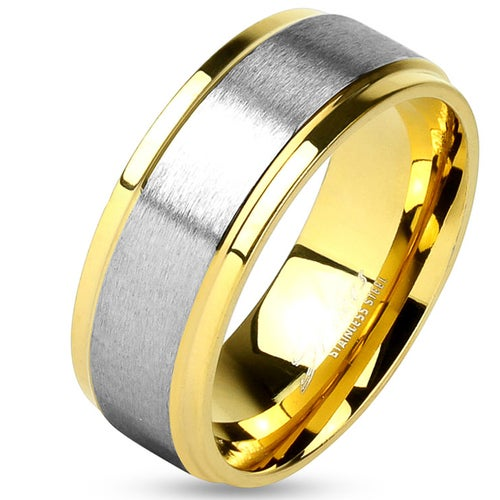 Two Tone Soft Brushed Metal Center Step Edge Gold IP Stainless Steel Wedding Band