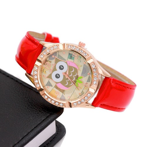 Fashion Europe and the United States selling big eyes owl diamond watch female models point drill bright skin ladies watch