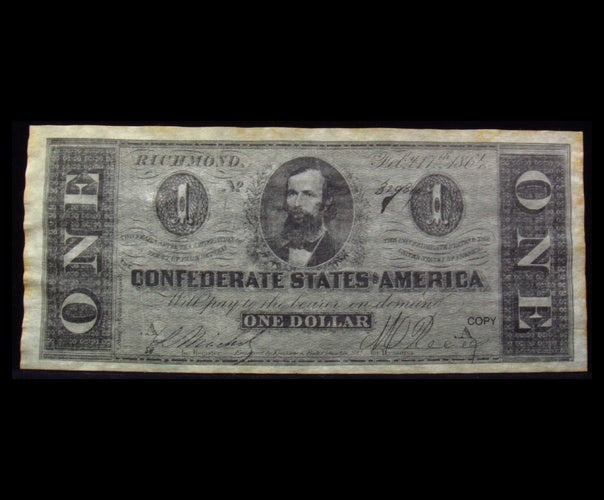 1864 $1 Confederate States of America One Dollar Note (Richmond) - Reproduction -